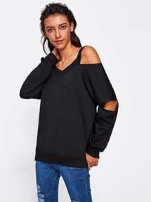 Open Shoulder Cut Out Elbow Sweatshirt