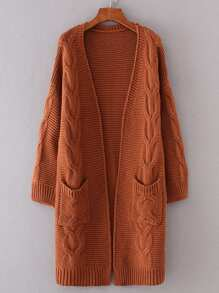 Cable Knit Longline Chunky Cardigan