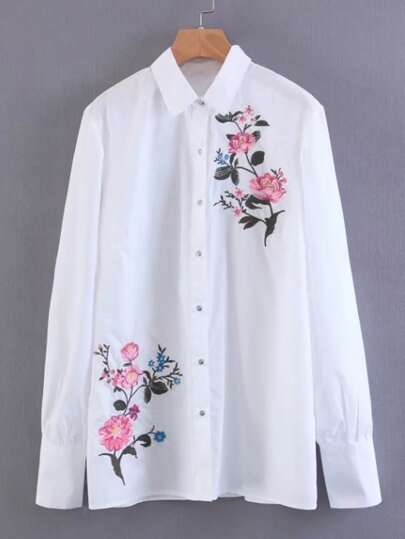 Embroidered Flower Tailored Blouse