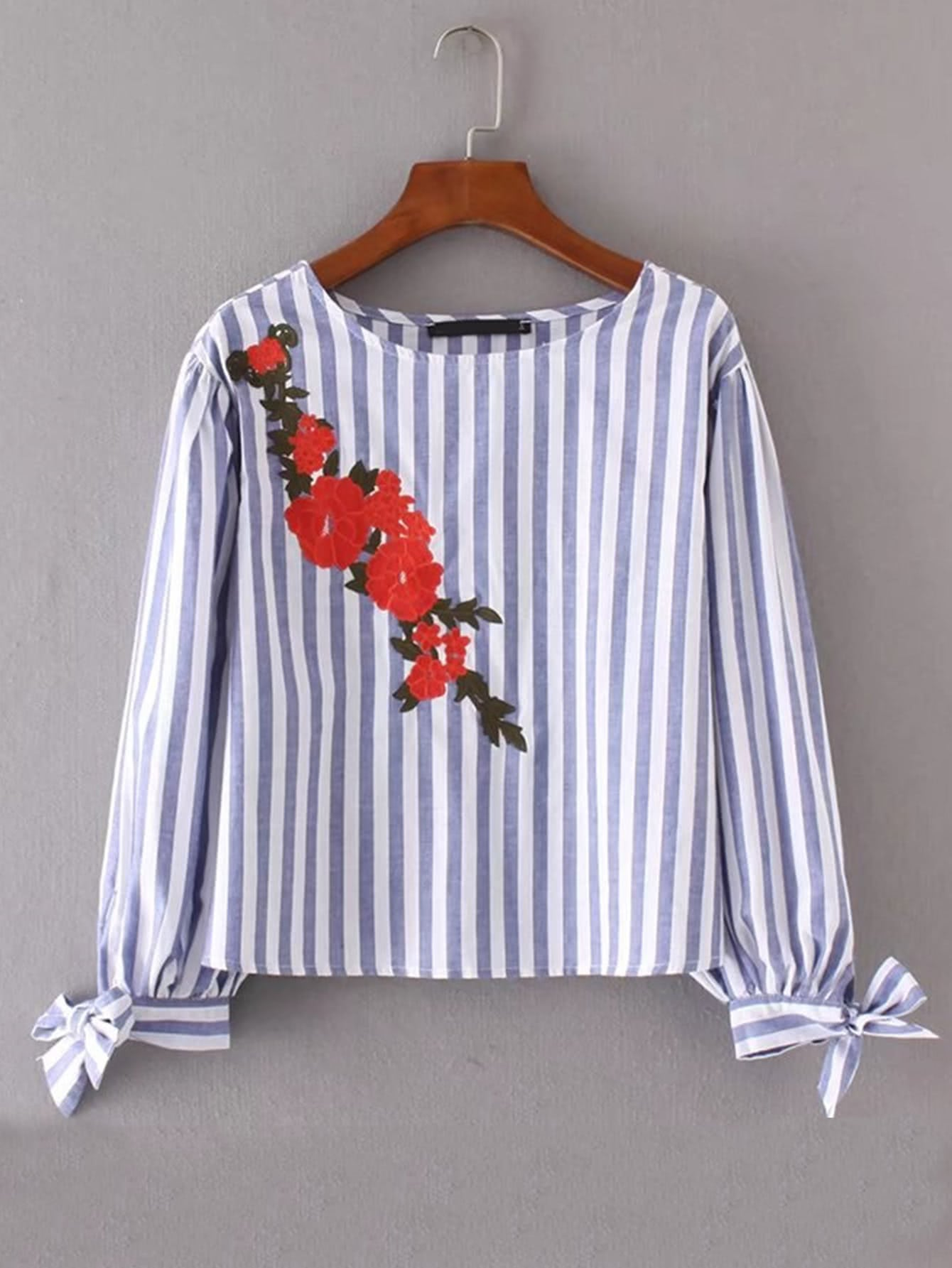 Embroidered Flower Bow Tie Cuff Striped Blouse contrast embroidered mesh yoke bow tie striped blouse