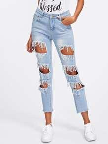 Shredded Raw Hem Bleach Wash Jeans