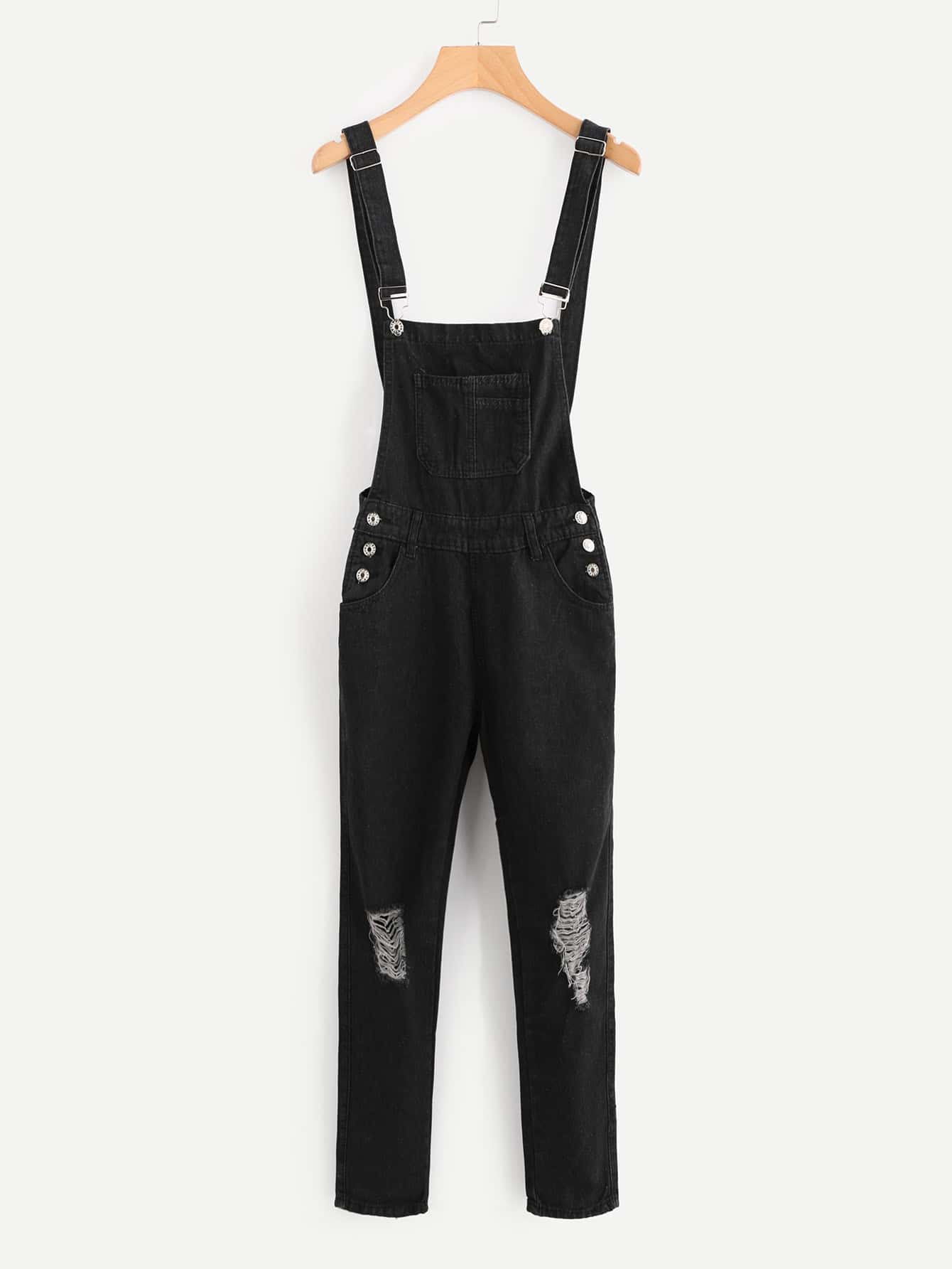 Image of Distressed Denim Overalls