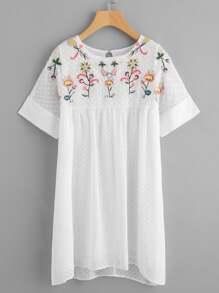 Embroidered Yoke Cutout Back Jacquard Smock Dress