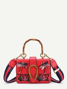 Dragonfly Detail Flap PU Crossbody Bag