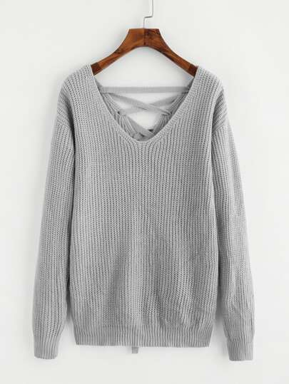 Dual V Neck Lace Up Back Jumper pictures
