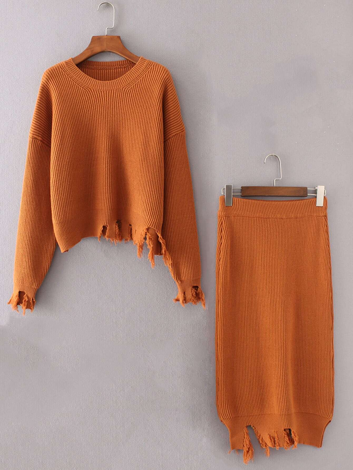 Ripped Trim Rib Knit Sweater With Skirt twopiece170928201