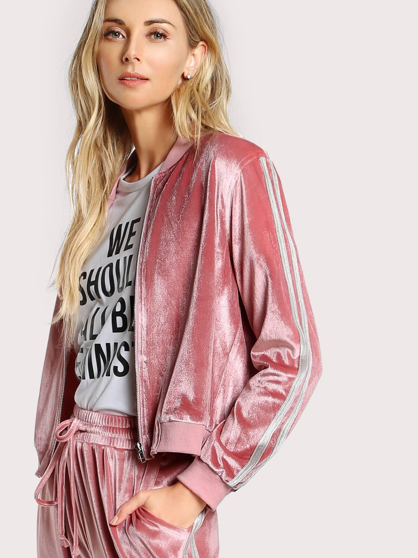 Ribbed Trim Zip Up Velvet Bomber Jacket jacketmmc170904701