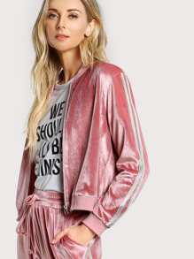 Ribbed Trim Zip Up Velvet Bomber Jacket