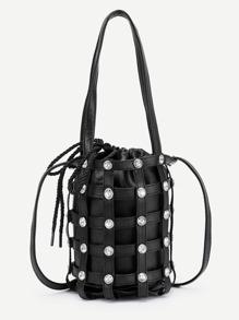 Coin Detail PU Drawstring Bag With Convertible Strap