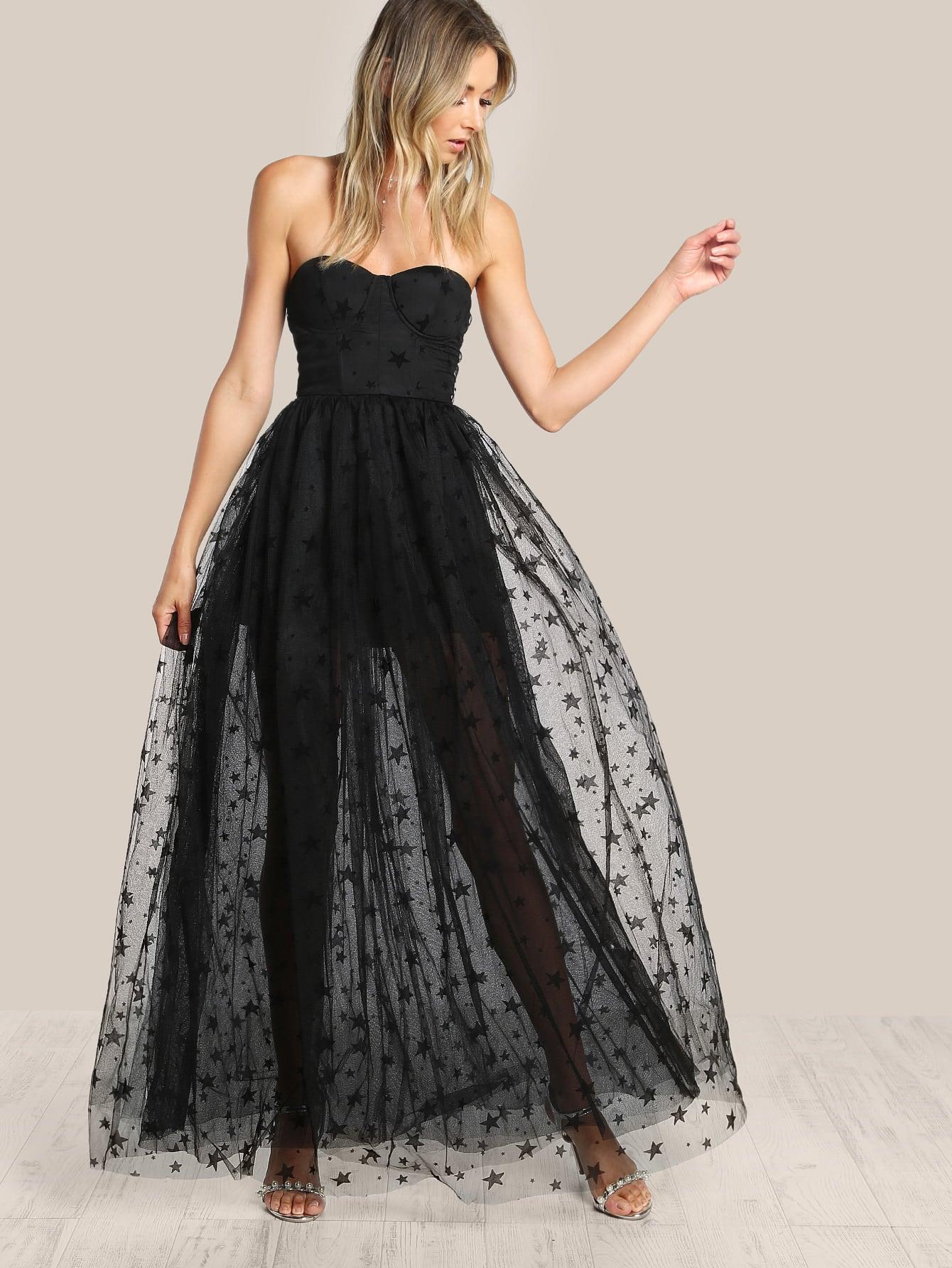 Star Flock Mesh Overlay Strapless Bustier Dress Shein
