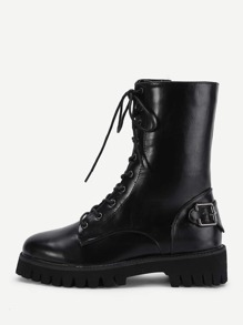 Buckle Detail Lace Up Boots