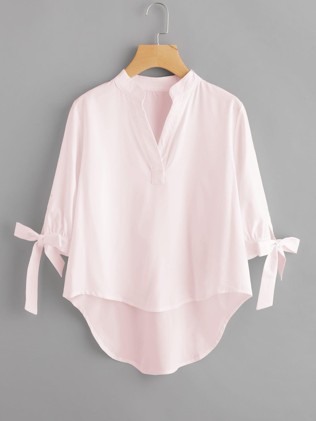 Tie Cuff Dip Hem Blouse tie cuff button front blouse