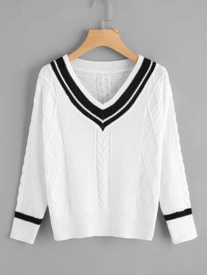 V Neckline Contrast Trim Sweater