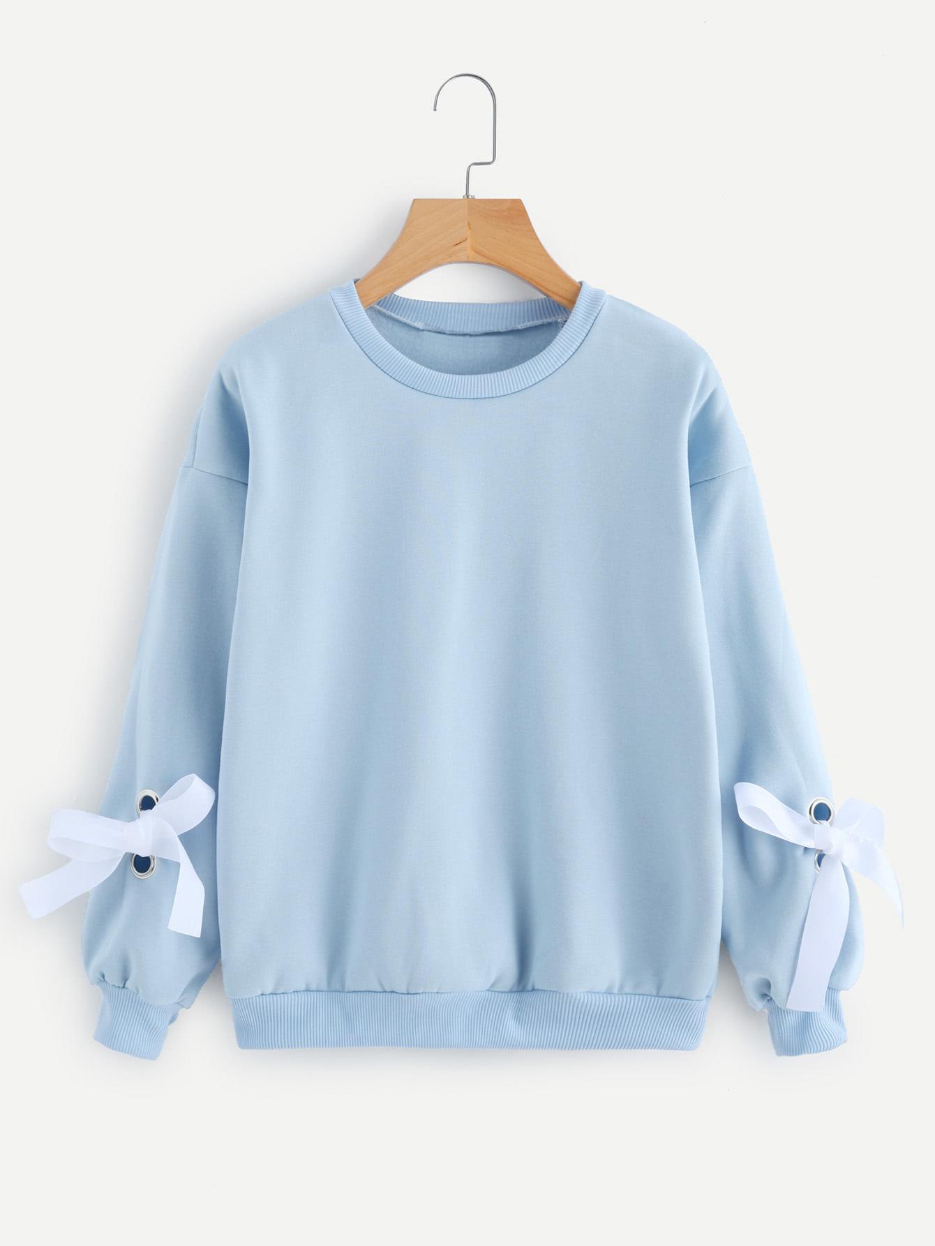 Eyelet Tie Sleeve Sweatshirt