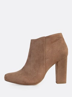 Point Toe Zip Up Faux Suede Booties DARK TAUPE
