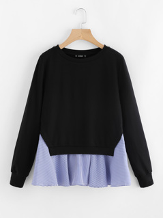 Striped Trim 2 In 1 Sweatshirt