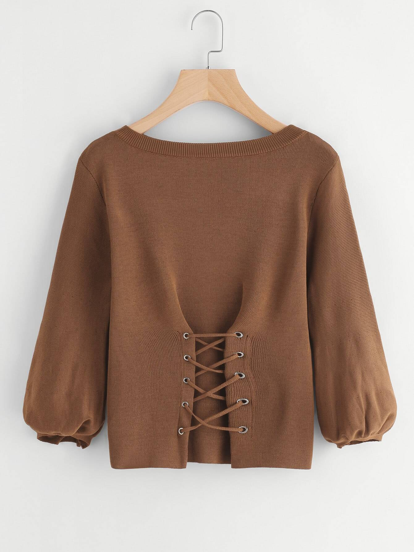 Lantern Sleeve Eyelet Lace Up Sweater lace up sleeve waffle knit sweater