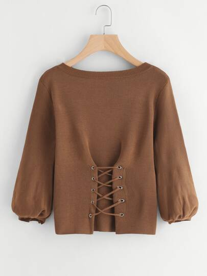 Lantern Sleeve Eyelet Lace Up Sweater
