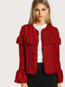Fluted Sleeve Flounce Detail Frayed Tweed Jacket