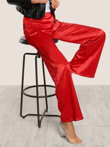High Rise Flare Leg Satin Pants RED