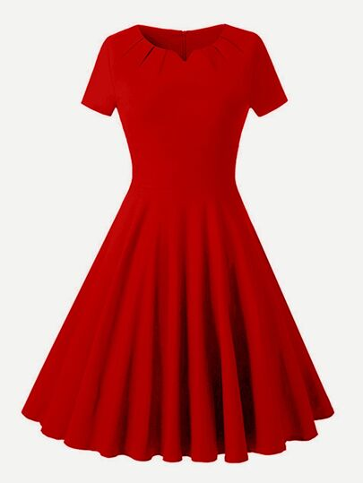 V Cut Fit And Flare Dress