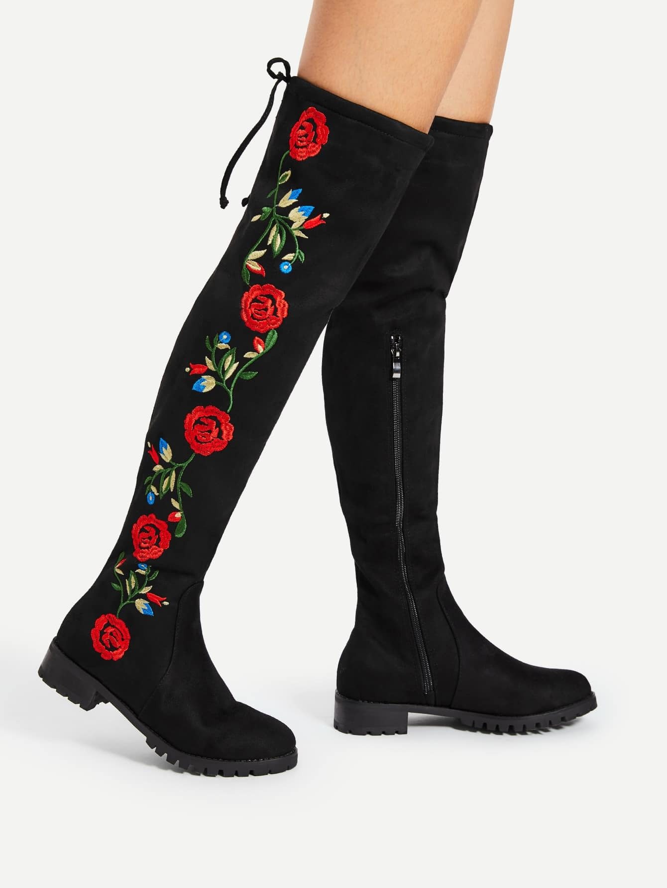 Flower Embroidery Over The Knee Boots famso size34 43 2017 new sexy women boots black autumn over the knee boots high heels red shoes winter female snow boots sbt2972