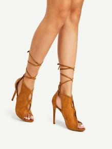 Cutout Peep Toe High Heels