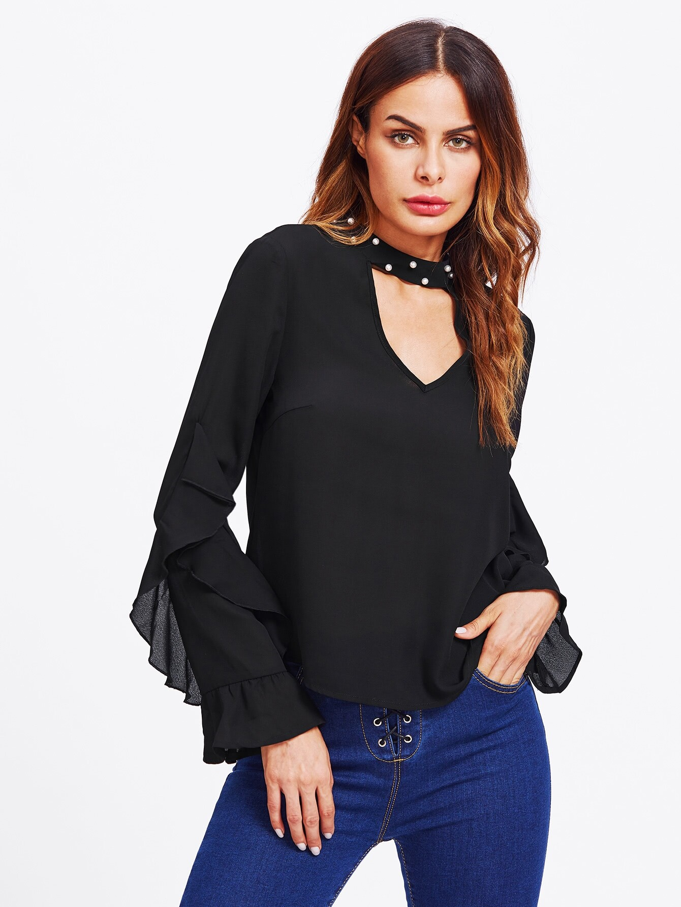 Pearl Beading Choker Neck Frilled Top pearl beading layered sleeve top