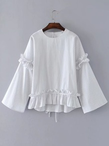 Frill Detail Tied High Low Striped Blouse