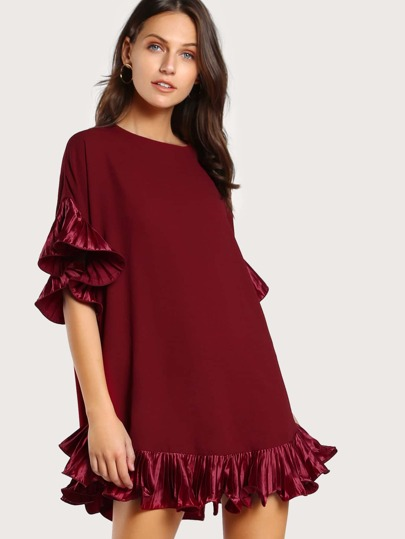 Pleated Frill Trim Tunic Dress