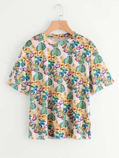 Camiseta de terciopelo con estampado tropical