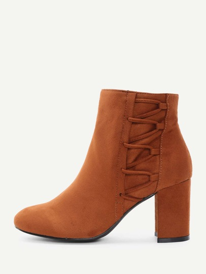 Side Zipper Block Heeled Boots