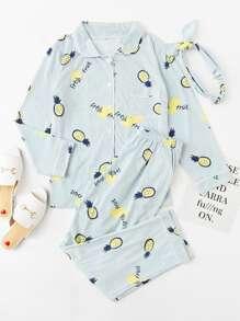 Pineapple Print Striped Pajama Set With Headband