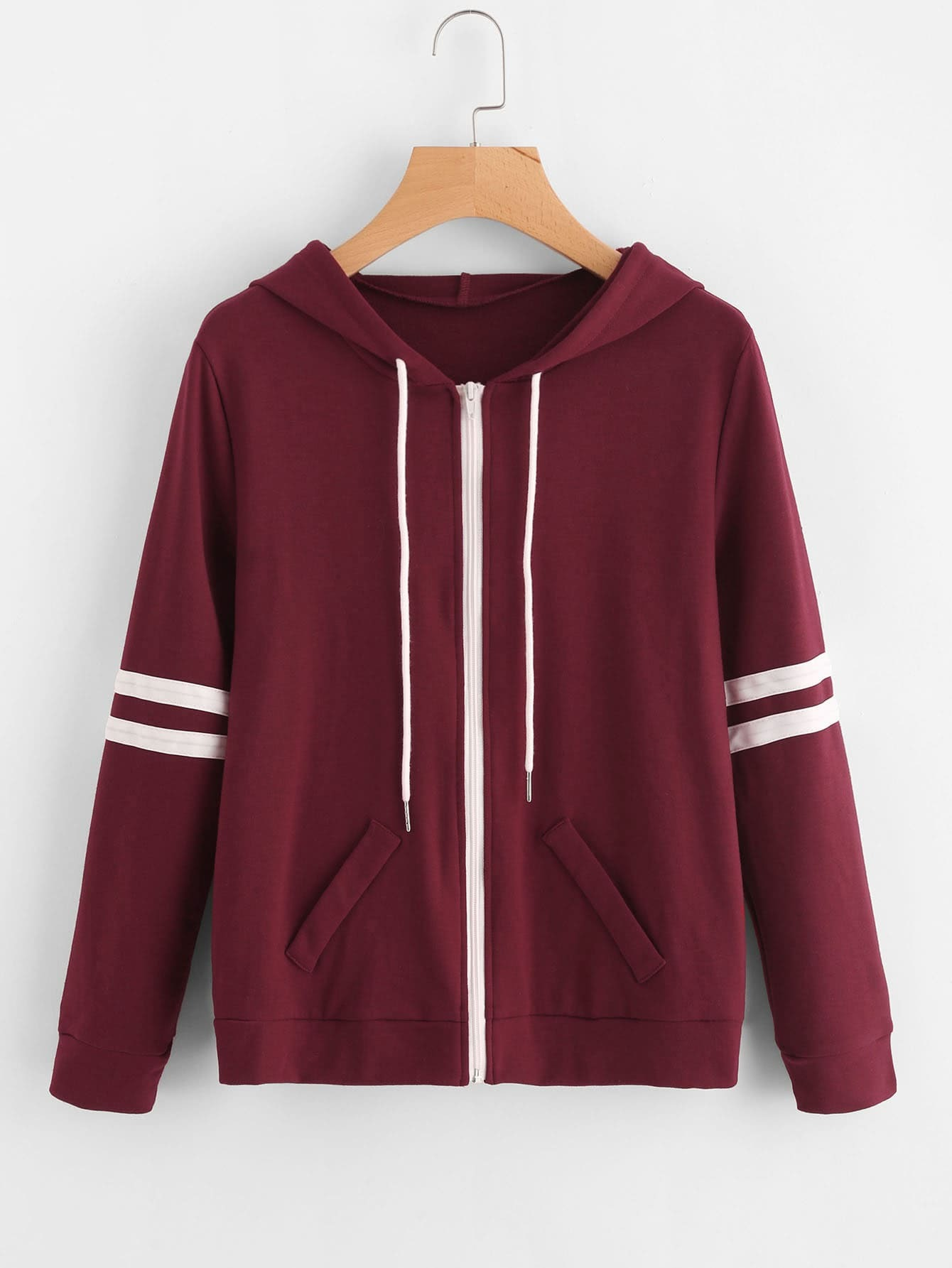 Hooded Varsity-Striped Zip Up Jacket striped zip up hooded quilted jacket