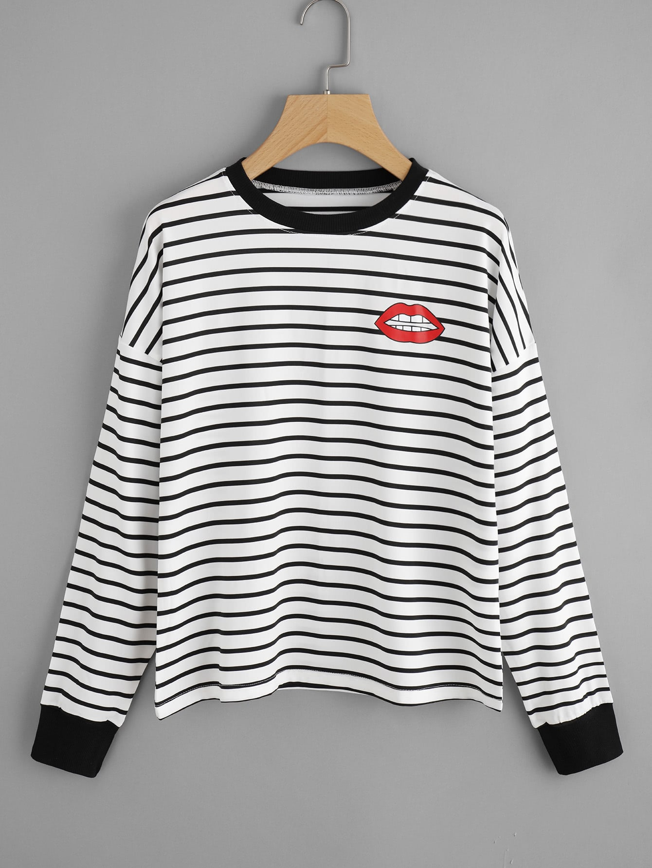 Lips Print Striped Sweatshirt sweatsh170928025
