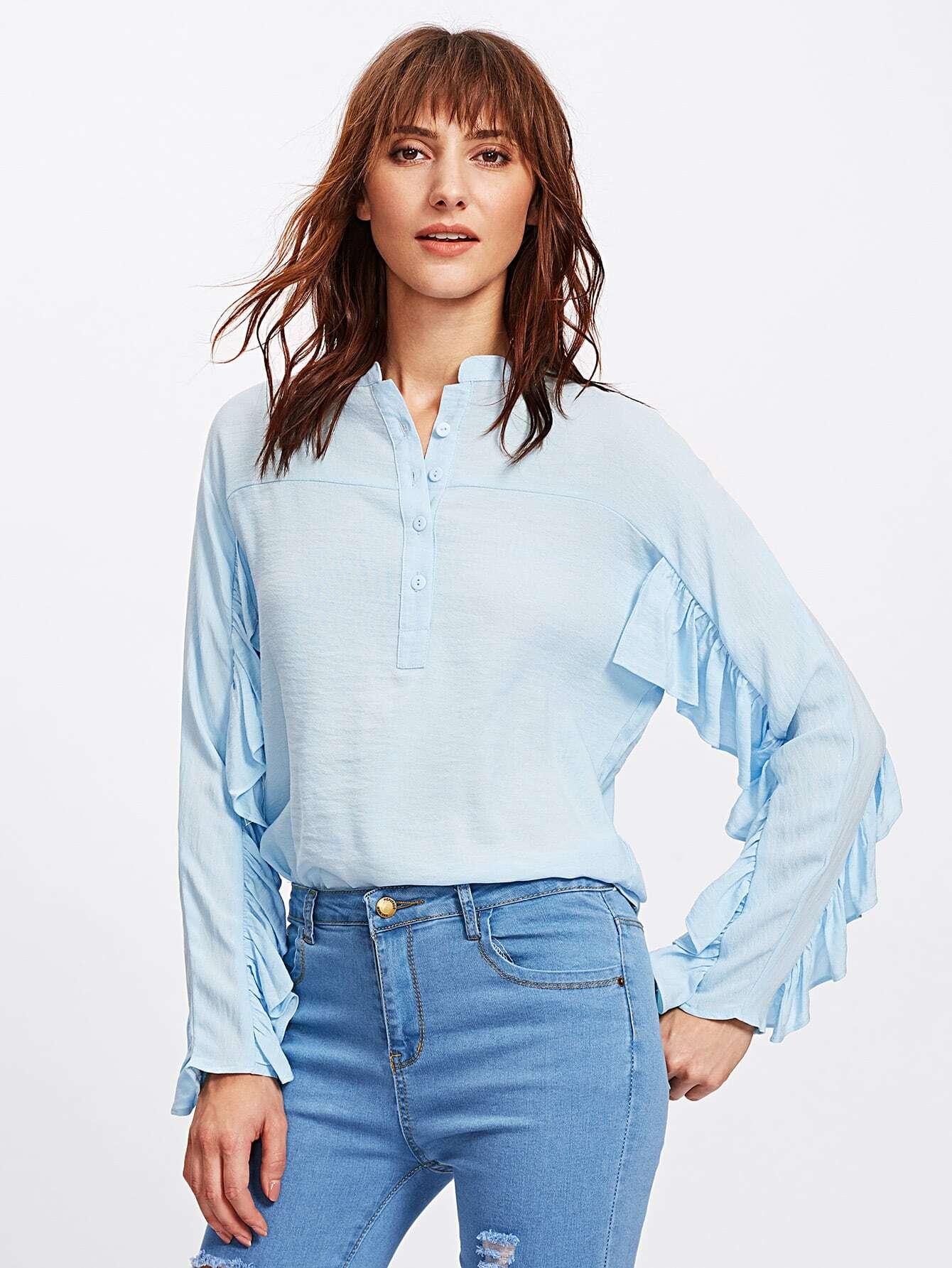 Half Placket Flounce Trim Blouse twist front half placket drop shoulder blouse
