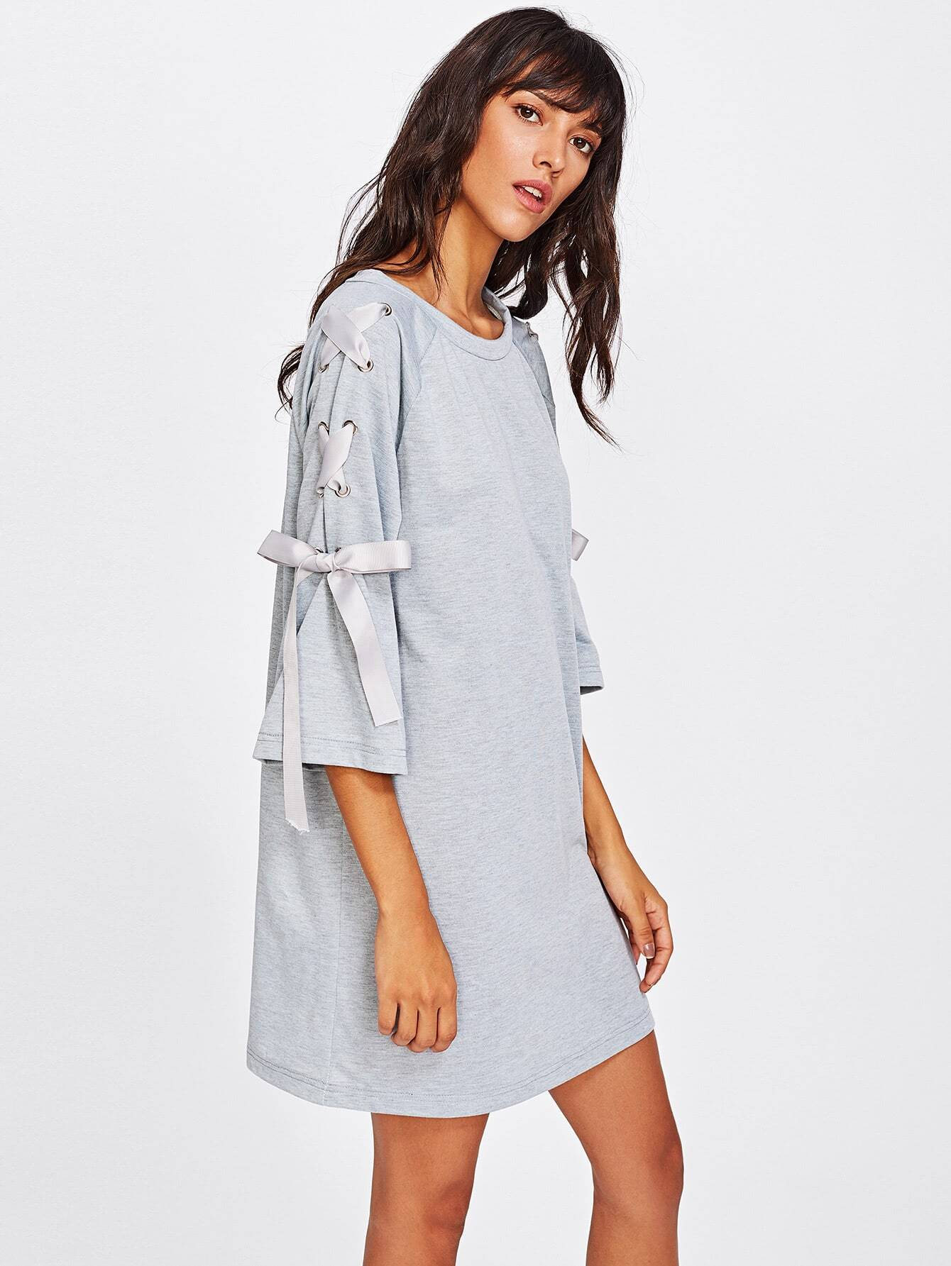 Ribbon Lace Up Raglan Sleeve Marled Tee Dress raglan sleeve binding marled crop top