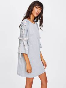 Ribbon Lace Up Raglan Sleeve Marled Tee Dress