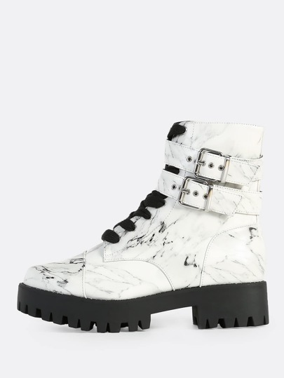 Marble Print Lace Up Boots WHITE