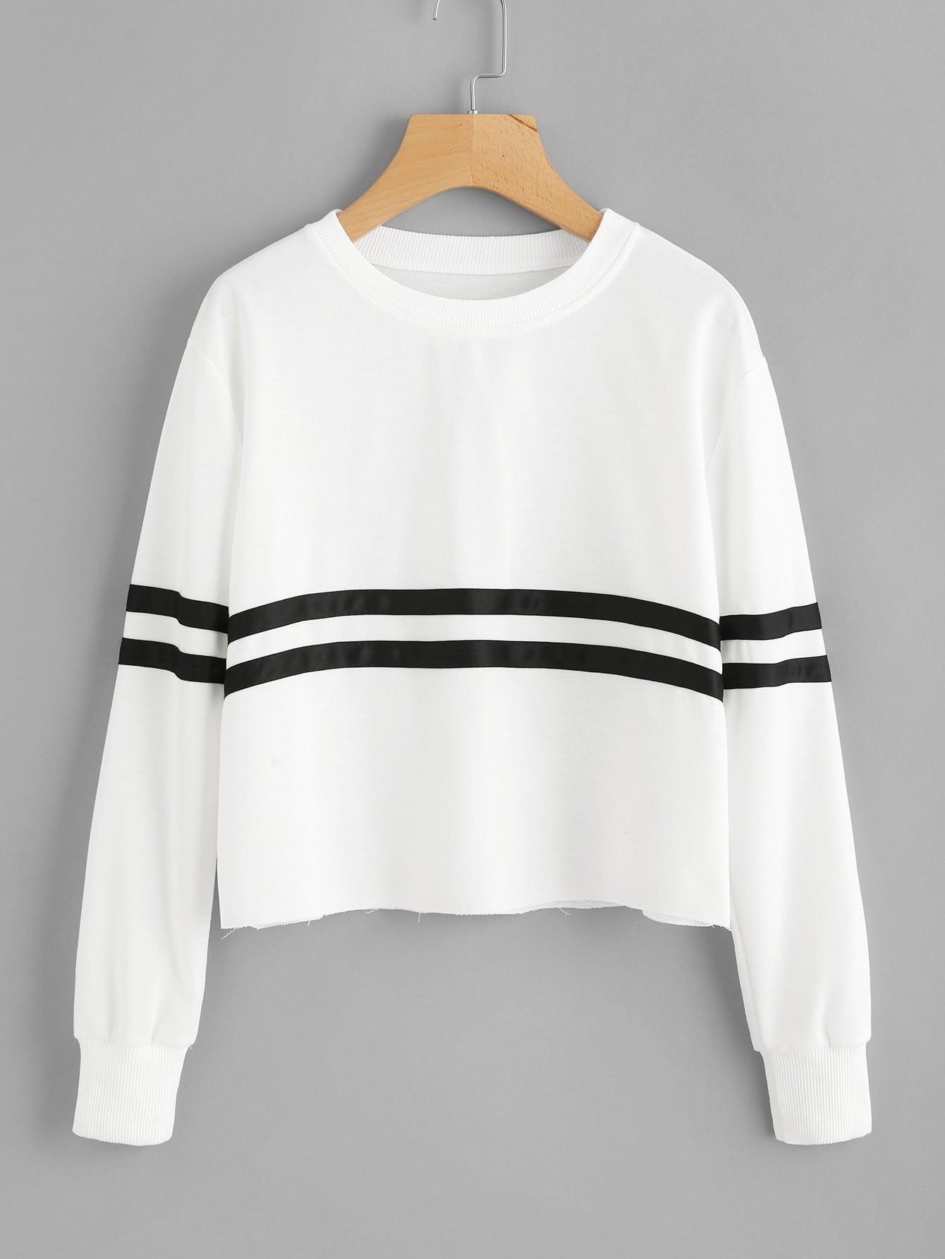 Contrast Striped Raw Hem Sweatshirt faux fur cuff drop shoulder raw hem sweatshirt