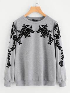 Contrast Flock Flower Applique Heathered Pullover