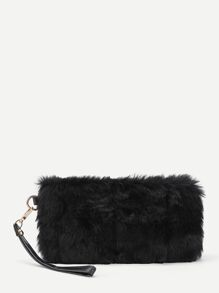 Faux Fur Design Clutch Bag