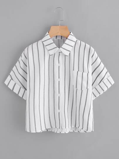Striped Single Breasted Chest Pocket Cuffed Shirt