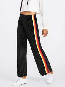 Striped Tape Side Slit Velvet Pants