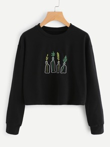 Plant Embroidered Crop Pullover