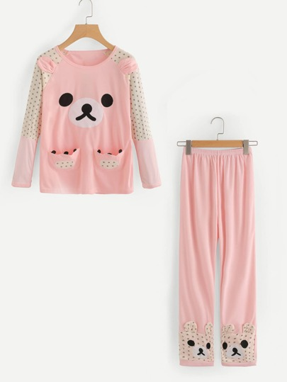 Cute Bear Long Pajama Set