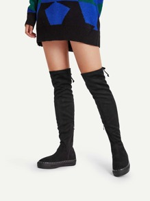 Lace Up Knee Length Flatform Boots