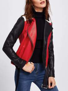 Cut And Sew Belted Hem Biker Jacket