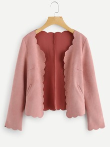 Scallop Trim Open Front Suede Jacket