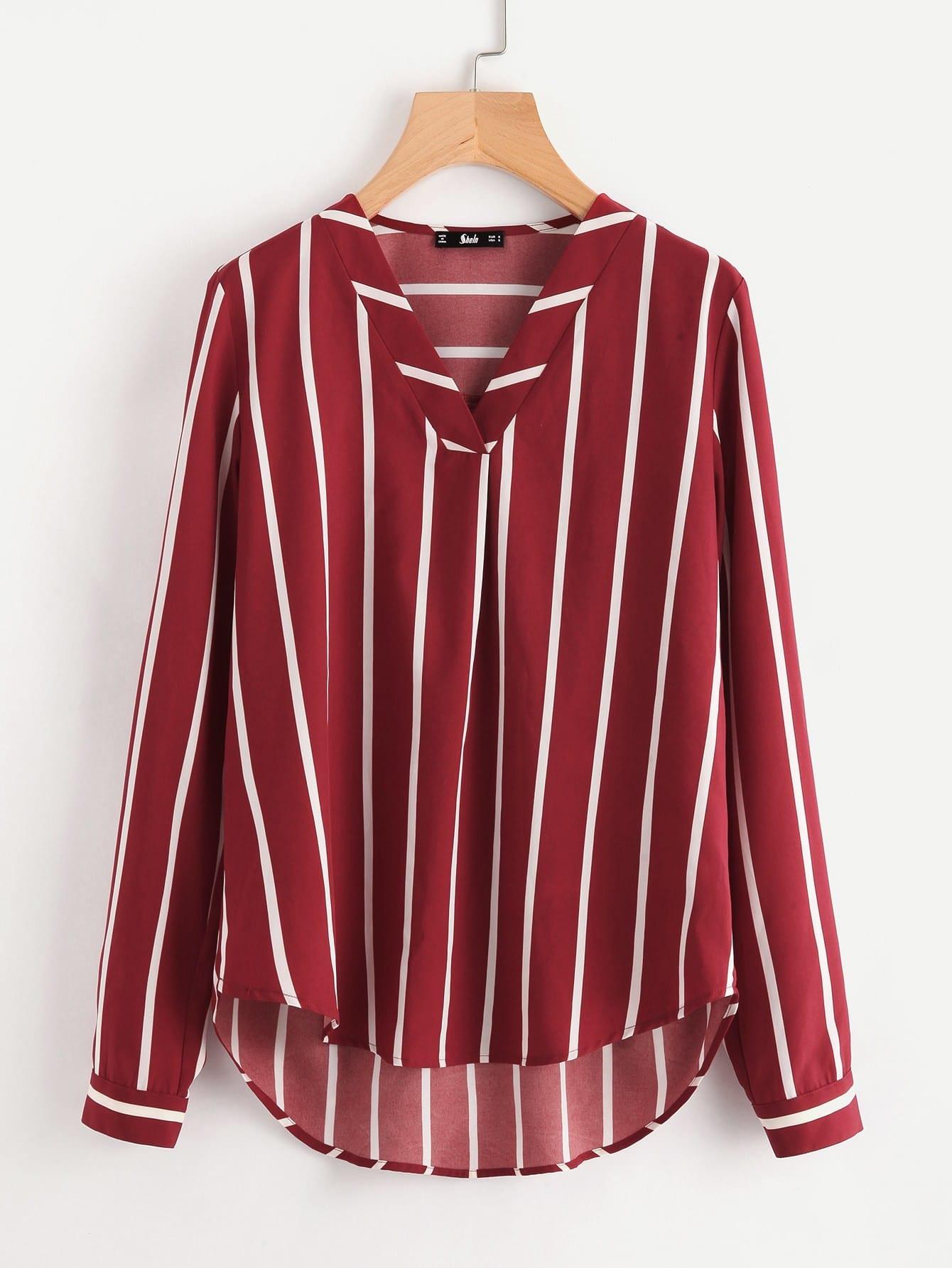Купить Модная асимметричная блуза с V-образным вырезом, null, SheIn